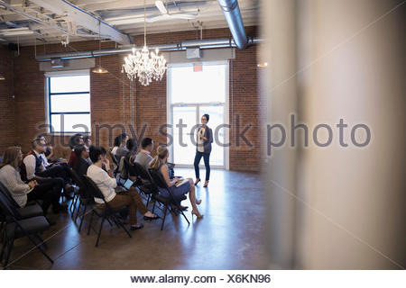 Businesswoman leading conference meeting - Stock Photo