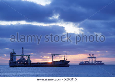 Tankers out at sea off Gran Canaria, Atlantic Ocean. All non-editorial uses must be cleared individually. - Stock Photo