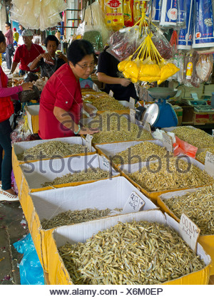 Malaysia, Bornéo, Kuching Chinese Market, Chinese stallholder woman - Stock Photo