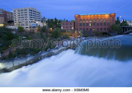 Lower Falls of Spokane River in Major Flood, Riverfront Park, Spokane, Washington State, USA - Stock Photo