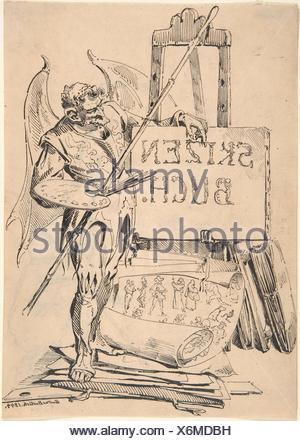 Der Fehlerteufel (Devil of Mistakes). Artist: Gustav Bartsch (German, Gleiwitz (Oberschlesien) ca. 1821-after 1870 Dresden-Blasewitz); Date: 1844; - Stock Photo