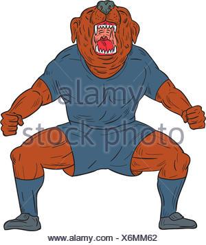 Bulldog Footballer Celebrating Goal Cartoon - Stock Photo