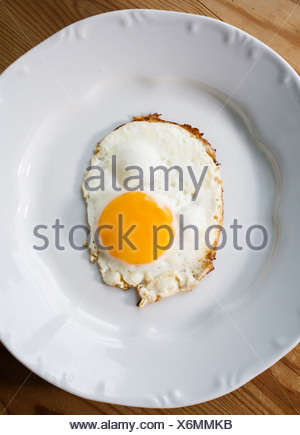 Fried egg on a plate. - Stock Photo