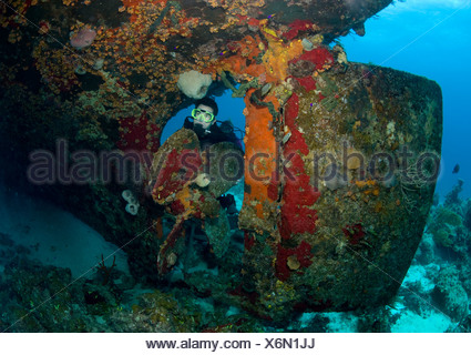 Diver on shipwreck. - Stock Photo