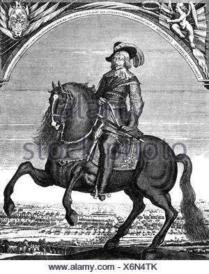 Torstensson, Lennart, 17.8.1603 - 7.4.1651, Swedish General, equestrian image, copper engraving, 17th century, , Artist's Copyright has not to be cleared - Stock Photo