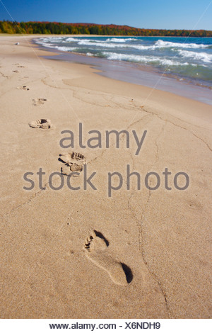 Footprints in the sand along the beach of Pancake Bay in Pancake Bay Provincial Park, Lake Superior, Great Lakes, Ontario, Canad - Stock Photo
