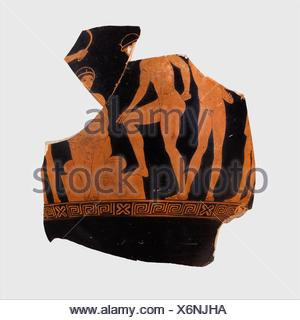 Fragment of a terracotta bell-krater (bowl for mixing wine and water). Attributed to the Group of Polygnotos; Period: Classical; Date: ca. 450-440 - Stock Photo