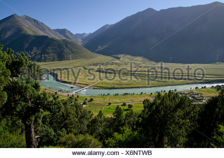 Reting river, Reting Tsangpo with centuries-old juniper trees in the mountains of Reting Monastery, Mount Gangi Rarwa, Himalayas - Stock Photo
