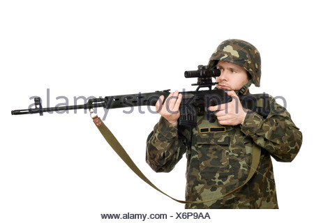 Soldier holding a rifle - Stock Photo