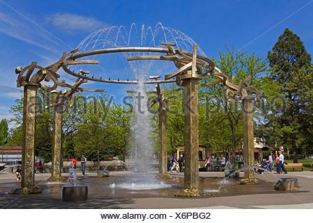 Riverfront Park Fountain; Spokane, Washington, USA - Stock Photo