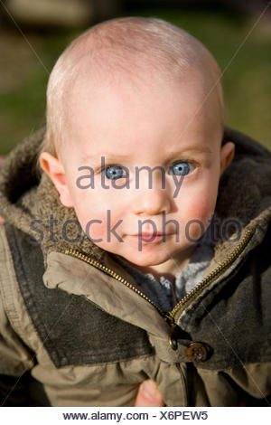 Portrait of a 12 month old baby boy. - Stock Photo