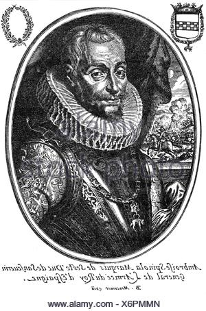 Spinola, Ambrosio, 1569 - 29.9.1630, Spanish general, portrait,   copper engraving by Moncornet, 1st half 17th century, , Artist's Copyright has not to be cleared - Stock Photo