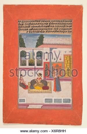 Bangali Ragini: Folio from a ragamala series (Garland of Musical Modes). Date: 1709; Culture: India (Rajasthan, Amber); Medium: Ink, opaque - Stock Photo