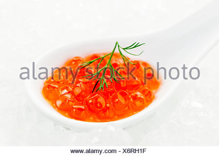 Closeup of caviar with dill garnish in white spoon on ice - Stock Photo