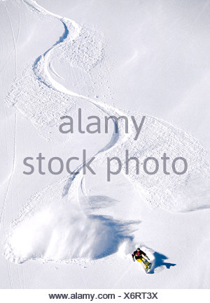 Aerial view of winding trail, snowboarding, Gary Chalmers, Flaine, France - Stock Photo