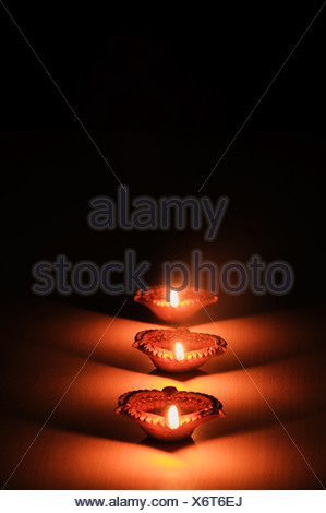 Close-up of Diwali oil lamps - Stock Photo