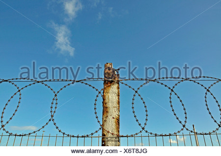 Fence of the industrial port, Port Elizabeth, Eastern Cape, South Africa, Africa - Stock Photo