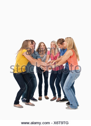 A group of friends about to cheer - Stock Photo