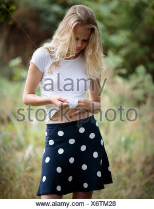 Country Girl On The Footpath In The Woods Stock Photo