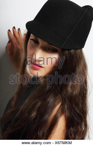 Vintage. Romantic Pensive Woman in Black Hat - Stock Photo