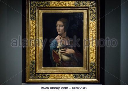 La dama del armiño (La dama con l'ermellino) cuadro del pintor renacentista italiano Leonardo da Vinci,l óleo sobre tabla, 54,8 cm. de alto y 40,3 cm - Stock Photo