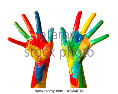 Painted hands, colorful fun. Isolated - Stock Photo