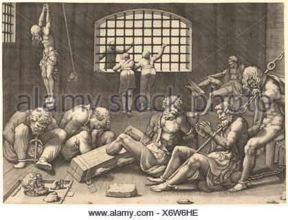 The Prison; a group of men in a dungeon bound in chains and shackles; to the right a figure hanging from his arms, tied to a boulder. Artist: - Stock Photo