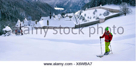 Ski touring over the monastry of the Grande Chartreuse, France, Isere, Chartreuse, Grenoble - Stock Photo