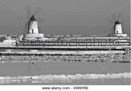 Typical windmills at the salt pans of Trapani in Sicily, Italy, europe - Stock Photo