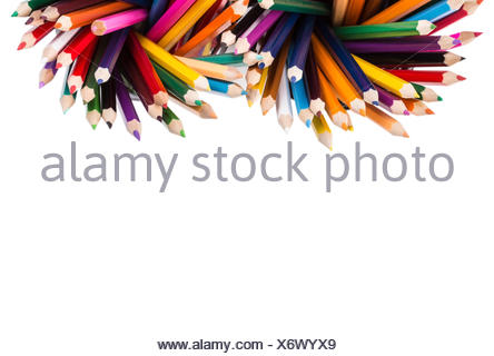 Set of color pencils in two office bins - Stock Photo