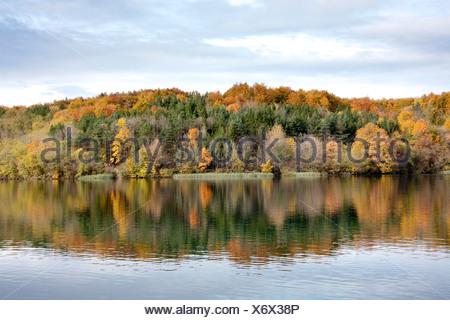 Croatia, Europe, Plitvicer lakes, Jezera, lake, sea, national park, trees, autumn - Stock Photo