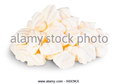 Pile The Spiral Marshmallows Isolated On White Background. - Stock Photo