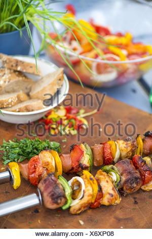 Summer garden party grill barbecue, summer salad, Austria, near Vienna, Vienna - Stock Photo
