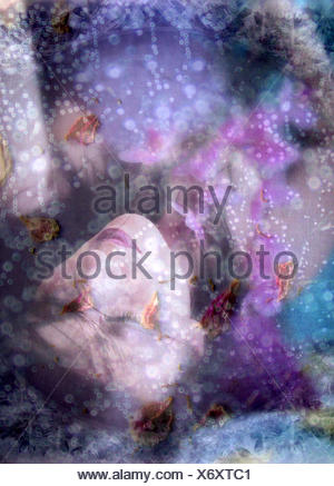 a montage of a portrait of a woman, flowers and texture, - Stock Photo
