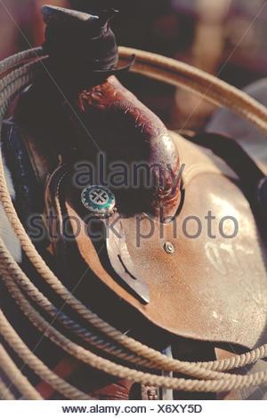 Close-up of lasso on horse saddle - Stock Photo
