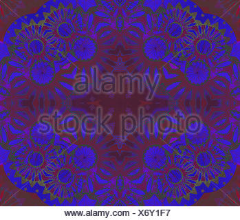 Abstract geometric seamless background. Ornate and dreamy ornament in in violet and purple shades with green elements. Dark floral circles pattern. - Stock Photo