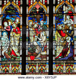 Miracles of Jesus, Raising the Dead, Say Unto Thee Arise, Talitha Koum, Lazarus come Forth, stained glass window by Heaton, Butler & Bayne, 1878, Swaf - Stock Photo