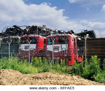 Three electric locomotives of DB, Deutsche Bahn, German Rail, in a recycling yard, North Rhine-Westphalia, Germany, Europe - Stock Photo