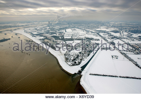 Aerial view, Emscher estuary, Rhine floods, snow, Emscher river, Emscher course, Dinslaken, North Rhine-Westphalia, Germany, Eu - Stock Photo