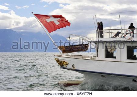 Belle Epoque paddle steamer La Suisse on Leman Lake Lausanne Canton of Vaud Switzerland Europe. - Stock Photo
