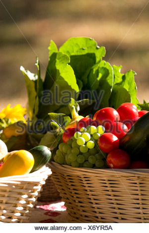 A fall fair fruit and vegetable basket at the Hornby Island fall fair.  Hornby Island, British Columbia, Canada. - Stock Photo