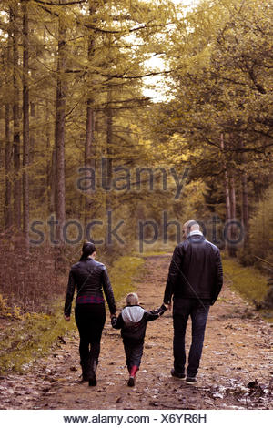 Rear view of family with one child holding hands and walking in the forest - Stock Photo