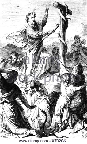 Moses, prophet, biblical character, full length, miracle of the Nehushtan, wood engraving, 19th century, Additional-Rights-Clearances-NA - Stock Photo