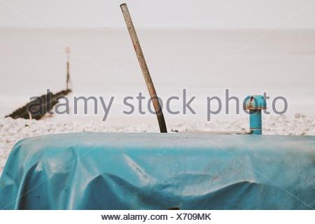 Close-Up Of Old Tractor On Beach - Stock Photo