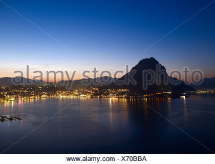 Lugano, Golfo, Lake of Lugano, Lago di Lugano, Ceresio, evening, Switzerland, Ticino, lake, - Stock Photo