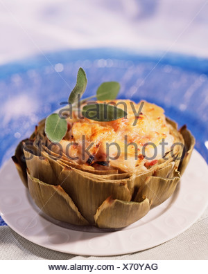 cooking Artichokes in Gratin - Stock Photo