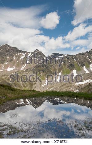 Europe Tyrol Tirol uplands Austria Alps alpine mountain mountain landscape mountain lake water idyll mountainous mountains - Stock Photo