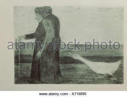 fine arts, Modersohn-Becker, Paula (1876 - 1906), grafik, 'Woman with goose', etching, aquatinta, 1902, Kunsthalle Kiel, , Artist's Copyright has not to be cleared - Stock Photo