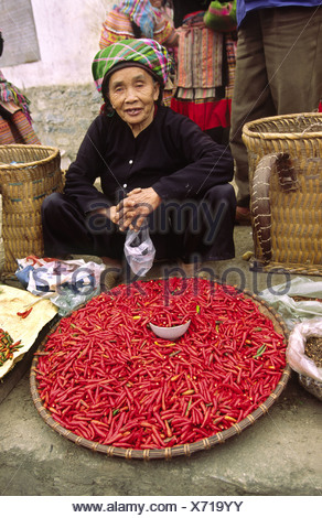 Woman selling chillies at Bac Ha, Lao Cai Province, Vietnam - Stock Photo