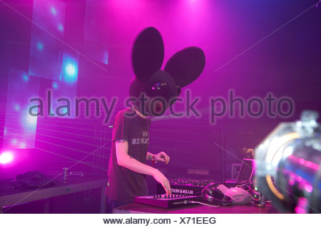 Techno Nature One Festival 2009, DJ Deadmau5, Kastellaun, Rhineland-Palatinate, Germany, Europe - Stock Photo
